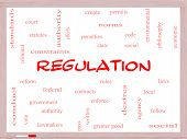 Regulation Word Cloud Concept On A Whiteboard