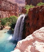 stock photo of grand canyon  - Havasu Falls inside Havasupi Indian reservation in the Grand Canyon - JPG