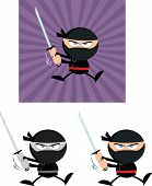 Angry Ninja Warrior Characters 5 Flat Design  Collection Set