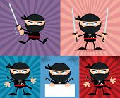 Angry Ninja Warrior Characters 4 Flat Design  Collection Set