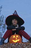 Halloween Pumpkin With Witch Sitting