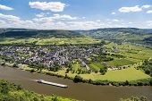 stock photo of moselle  - Aerial view of Moselle River in Germany near Punderich - JPG