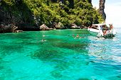 Koh Phi Phi, Thailand - September 13: Snorkeling Tourists On Turquoise Water In Maya Bay Lagoon On S