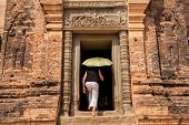 Entering an old Angkor temple
