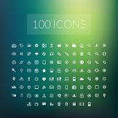 stock photo of universal sign  - Set of 100 simple universal modern thin line icons for web and mobile - JPG