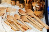 Wooden spoons in the handicraft mart