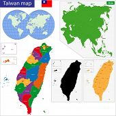 Vector map of Taiwan drawn with high detail and accuracy. Taiwan is divided into regions which are colored with different bright colors.