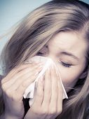 stock photo of sneezing  - Flu cold or allergy symptom - JPG