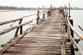 Unstable rickety bridge in Vietnam