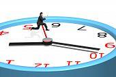 Man Jumping Over Clock Pointer