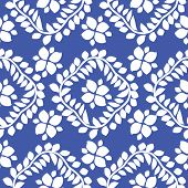 vector seamless pattern, blue floral ornament