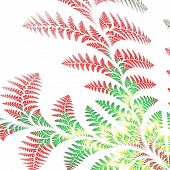 Asymmetrical Pattern Of The Leaves In Red And Green. On White Background. Computer Generated Graphic