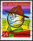 AUSTRIA - CIRCA 2007: A stamp printed in Austria shows drawn portrait of a young Boy Scout