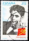 SPAIN - CIRCA 1998: A stamp printed in Spain showing the universal poet Federico García Lorca