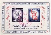USA - CIRCA 1956: A stamp issued in honor of the 5th International Philatelic Exhibition