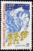 FRANCE - CIRCA 2000: A stamp printed in France dedicated to the conquest of Annapurna in 1950