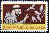 UNITED STATES OF AMERICA - CIRCA 1982: A stamp printed in USA shows St. Francis of Assisi circa 1982