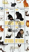 CHAD - CIRCA 2010: A set of stamps printed in Republic of Chad shows different cat breeds series cir
