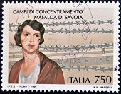 ITALY - CIRCA 1995: A stamp printed in Italy shows concentration camp Mafalda of Savoy circa 1995