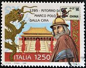 ITALY - CIRCA 1996: A stamp printed in Italy shows Marco Polo's return from China circa 1996