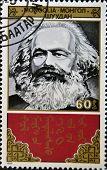 MONGOLIA - CIRCA 1988: A stamp printed in Mongolia shows Karl Marx circa 1988