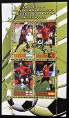 RWANDA - CIRCA 2010: A stamp printed in Rwanda shows top football players of the world