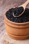 Spoon With Black Sturgeon Caviar