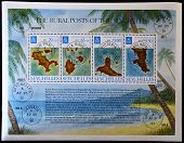 SEYCHELLES ISLANDS - CIRCA 1995: A stamp printed in Seychelles shows the map of the different island