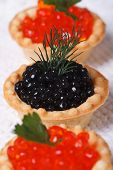 Three Tartlets With Salmon Caviar And Sturgeon Caviar