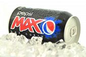 Can of Pepsi Max drink on ice