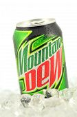 Can of Mountain Dew drink on ice