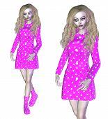 3D Woman In Pink Coat