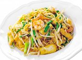 Homemade Asian Pad Thai with shrimp and cilantro