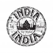India grunge rubber stamp
