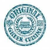 picture of greeks  - Blue grunge rubber stamp with Greek elements and the text Original Greek cuisine written on the stamp - JPG