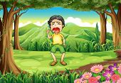Illustration of a boy crying at the woods