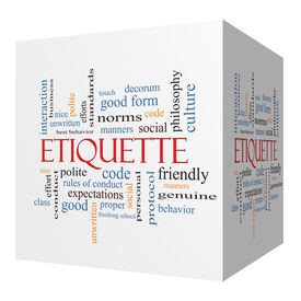 stock photo of politeness  - Etiquette 3D cube Word Cloud Concept with great terms such as manners polite social and more - JPG
