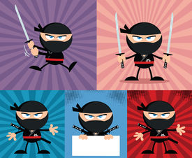 picture of chibi  - Angry Ninja Warrior  Cartoon Characters 4 Flat Design  Collection Set - JPG
