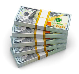stock photo of 100 dollars dollar bill american paper money cash stack  - Stacks of new 100 US dollar 2013 edition banknotes or bills isolated on white background - JPG