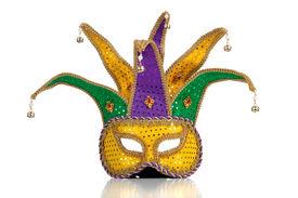 foto of mardi gras mask  - Gold purple and green glittery mardi gras mask on a white background - JPG