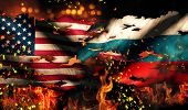 Usa Russia National Flag War Torn Fire International Conflict 3D