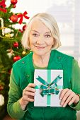 Happy senior woman holding gift with ribbon at christmas
