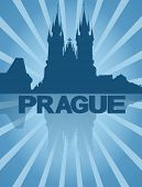 Prague skyline reflected with blue sunburst illustration