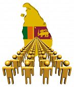 Lines of people with Sri Lanka map flag illustration