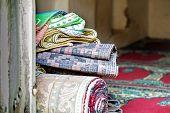 stock photo of jabal  - Image of carpets in a house in Wadi Bani Habib in Oman - JPG