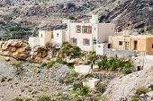 stock photo of jabal  - Image of houses on Saiq Plateau in Oman - JPG