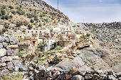 stock photo of jabal  - Image of village and mountains on Saiq Plateau in Oman