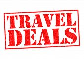 picture of aeroplane symbol  - TRAVEL DEALS red Rubber Stamp over a white background - JPG