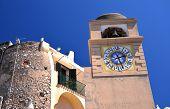 Beautiful antique tower clock on Capri island, Italy
