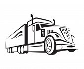 monochrome illustration of a truck with trailer